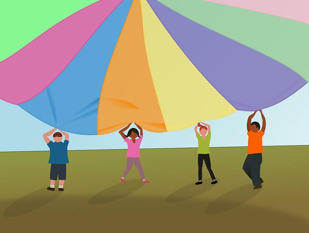 Centre socioculturel des Moulins : jeux du parachute